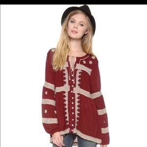 Free People Iris Boho peasant blouse top
